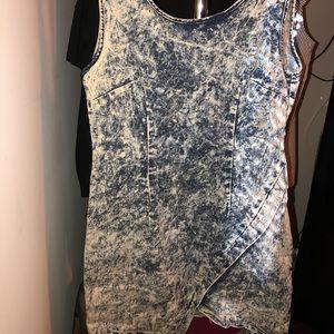Dresses & Skirts - Acid wash asymmetrical bodycon dress!